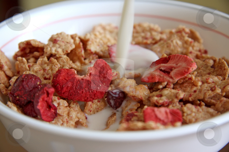 Raspberry breakfast cereal stock photo, Breakfast cereal with flakes of dried raspberry by Kheng Guan Toh