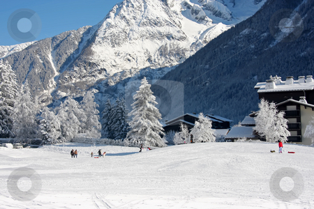 Ski slope stock photo, Ski slope at the winter mountain resort Chamonix by Kheng Guan Toh