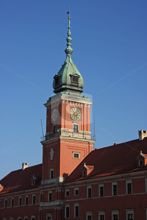 Warsaw presidential palace stock photo, Clock tower of the presidential palace in old town Warsaw by Kheng Guan Toh