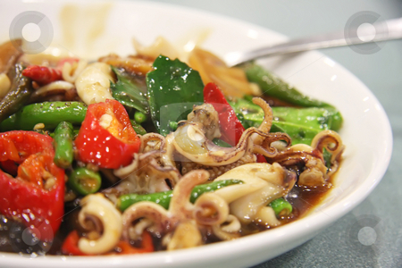 Spicy squid stock photo, Spicy squid traditional thai cuisine by Kheng Guan Toh