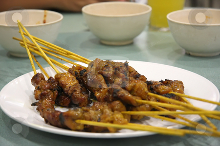 Satay skewers stock photo, Satay meat skewers on wooden sticks traditional malaysian cuisine by Kheng Guan Toh