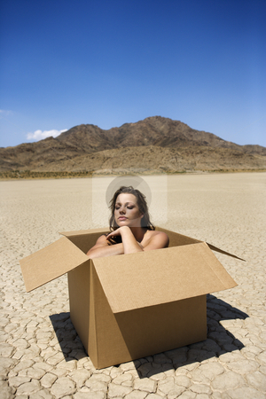 Nude woman in desert. stock photo, Pretty nude young woman sitting in box in cracked desert landscape in California. by Iofoto Images