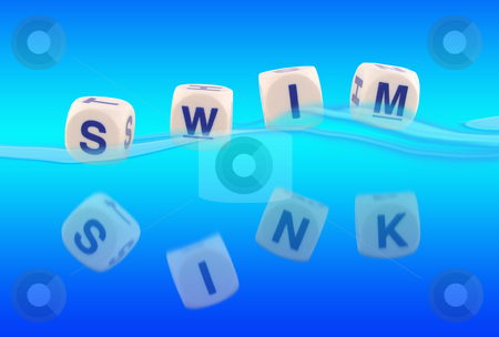 Sink Or Swim stock photo, Sink or Swim written in blocks in the water by Adrian Mace