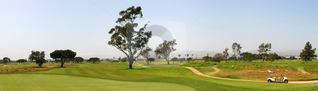 Golf Fairway stock photo, Panoramic shot of a golf fairway near Ventura by Henrik Lehnerer