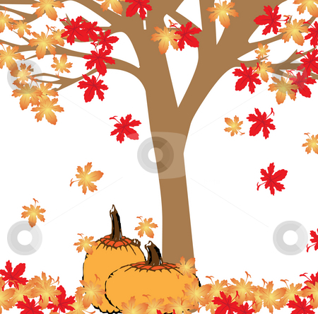 Pumpkins and leaves stock photo, Ripe pumpkins resting under a tree with colorful leaves falling by Michelle Bergkamp