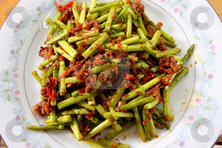Spicy asparagus stock photo, Spicy asian asparagus dish on white plate by Kheng Guan Toh