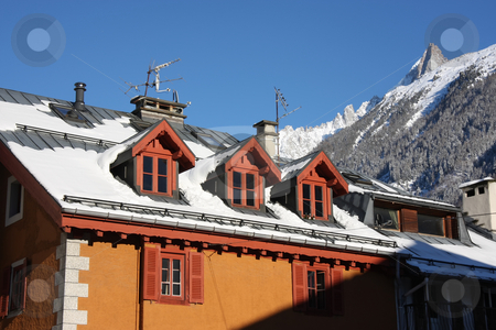 House in Alps stock photo, Traditional house roof against the Alp mountains in wintertime by Kheng Guan Toh