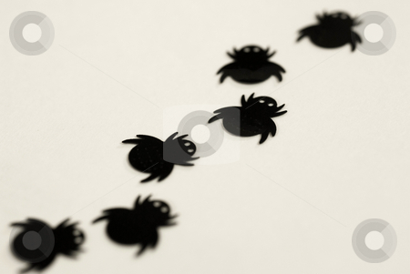 Creepy crawly stock photo, Halloween spider decorations, plastic toys by Stephen Gibson