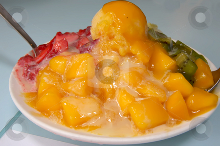 Shaved ice dessert stock photo, Shaved ice dessert with fruits and icecream by Kheng Guan Toh