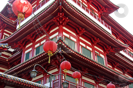 Traditional chinese temple stock photo, Architectural detail of  traditional chinese temple  with red lanterns by Kheng Guan Toh