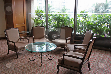 Waiting area stock photo, Elegant waiting area lounge with chairs and a table by Kheng Guan Toh