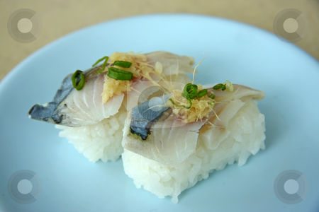 Japanese sushi stock photo, Sushi raw fish on rice traditional japanese cuisine by Kheng Guan Toh