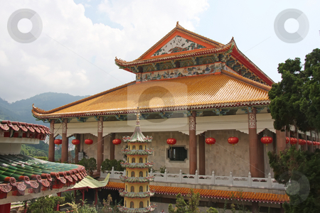Traditional chinese temple stock photo, Traditional chinese buddhist temple main courtyard building by Kheng Guan Toh