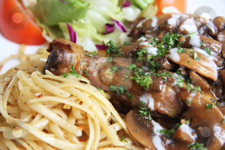 Roast chicken stock photo, Roast chicken with pasta and salad and gravy by Kheng Guan Toh