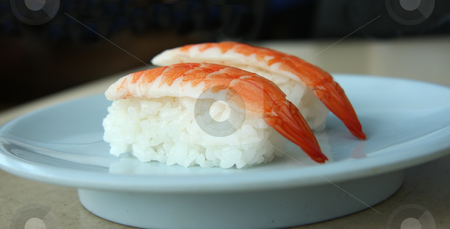 Ebi sushi stock photo, Ebi sushi prawns on rice traditional japanese food by Kheng Guan Toh
