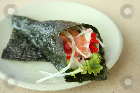 Temaki sushi stock photo, Hand rolled temaki sushi traditional japanese cuisine by Kheng Guan Toh
