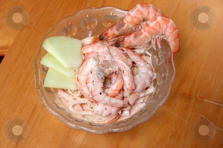Shrimp cocktail stock photo, Shrimp cocktail prawn seafood salad in bowl by Kheng Guan Toh