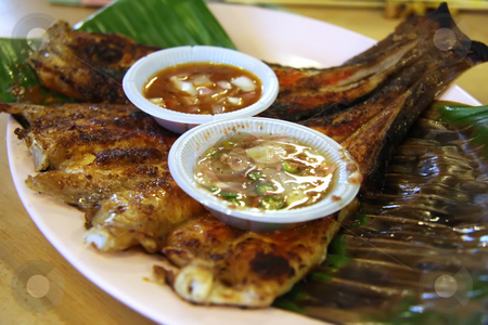 Grilled rayfish stock photo, Spicy grilled rayfish traditional asian cuisine by Kheng Guan Toh
