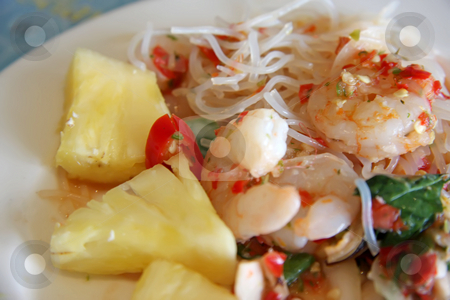 Thai prawn salad stock photo, Spicy thai salad with whole prawns noodles and pineapple by Kheng Guan Toh