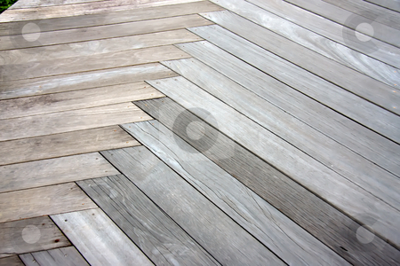 Outdoor parquet pattern stock photo, Outdoor weathered wooden parquet tiles pattern background by Kheng Guan Toh