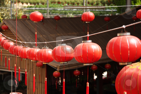 Chinese red lanterns stock photo, Festive chinese red lantern decorations by Kheng Guan Toh