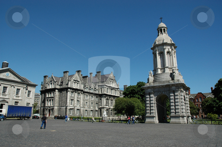 Trinity College Dublin stock photo, Wide angle shot of the Quad in Trinity College Dublin with the beautiful Bell tower to the right against a bright blue sky by Simon Jeacle