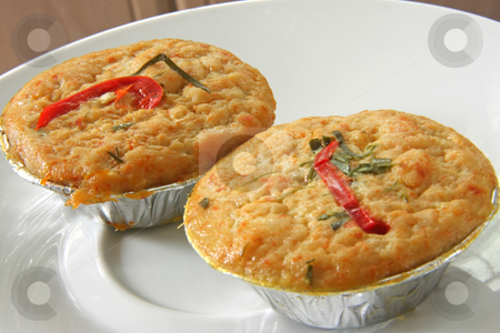 Spicy asian pudding stock photo, Otak spicy steamed savory pudding with fish and coconut traditional asian cuisine by Kheng Guan Toh