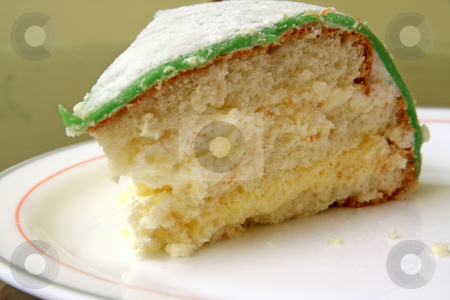 Sponge cake stock photo, Vanilla cream sponge cake covered with green marzipan by Kheng Guan Toh
