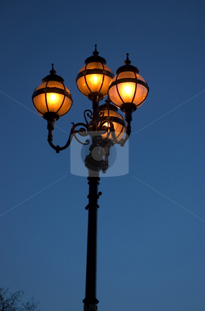 Victorian City Streetlamp stock photo, Victorian City Streetlamp in Dublin, shot from below with lots of Sky by Simon Jeacle