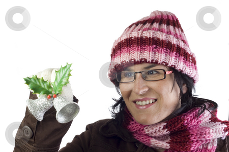 Christmas girl ornaments stock photo, Christmas woman holding some beautiful xmas ornaments by Ivan Montero