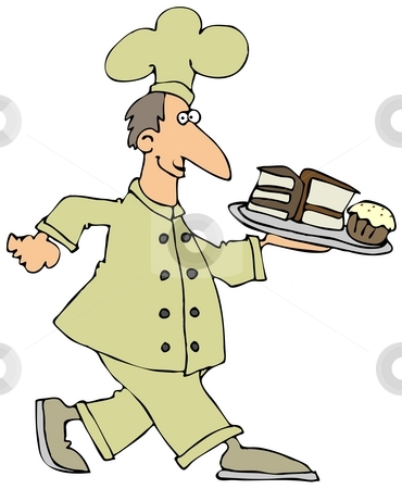 Pastry Chef stock photo, This illustration depicts a chef carrying a plate of desserts. by Dennis Cox
