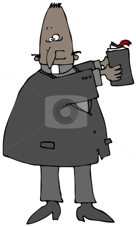 Preacher With A Bible stock photo, This illustration depicts a black priest holding up a bible. by Dennis Cox