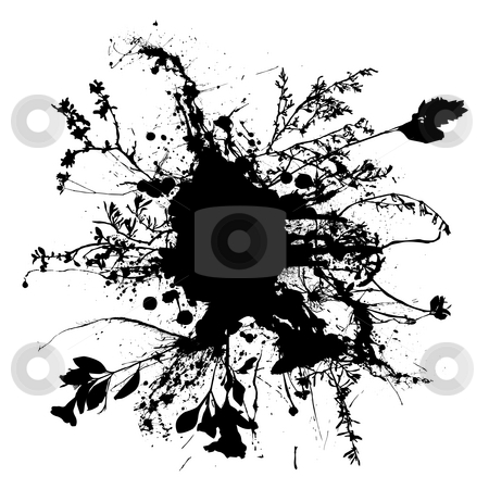 Floral ink spray stock photo, Black and white abstract pen and ink floral design by Michael Travers