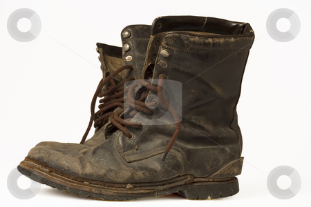 Old Leather Boots stock photo, A pair of old leather boots, well worn, dirty, and isolated on white by Lee Torrens