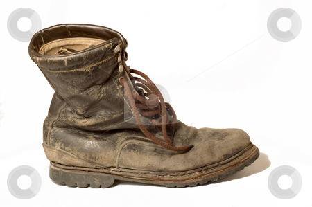 Old Leather Boot stock photo, An old leather boot, well worn, dirty, and isolated on white by Lee Torrens