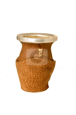 Yerba Mate Gourd stock photo, Isolated and close-up shot of an Argentinean Yerba Mate gourd made from Capibara (carpincho) leather, isolated on white. by Lee Torrens