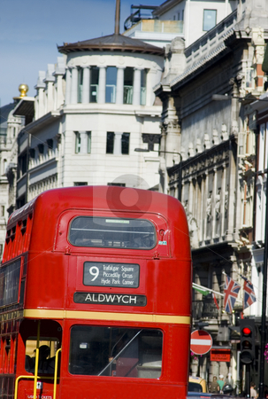 London Red Bus  stock photo, Double deceker bus on the streets of London by Lee Torrens