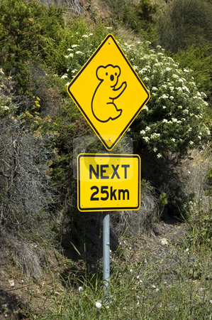 Koalas Next 25km - Australian Sign stock photo, A roadside sign warns motorists of the presence of Koalas by Lee Torrens