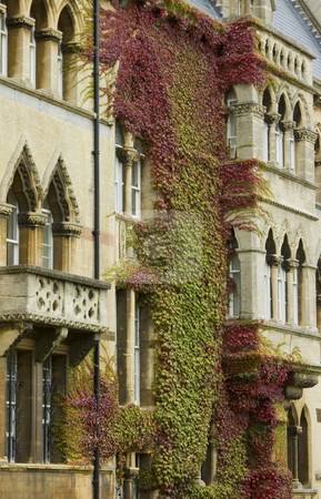 Facade of Christchurch Univeristy (Oxford) stock photo, Gothic style showing the front of the famous Christchurch Univeristy in England by Lee Torrens