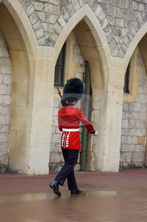 Queen's Guard stock photo, A British guard marching at Windsor Castle (England) by Lee Torrens