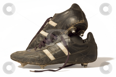 Old Football Boots stock photo, A pair of old football boots, showing signs of good use and age by Lee Torrens