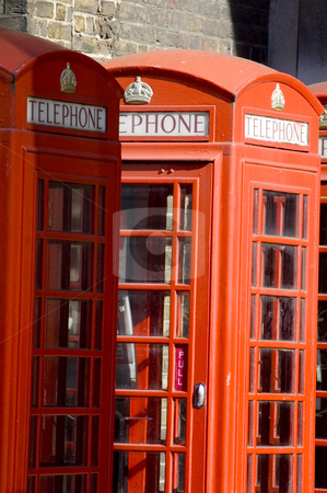 London's Telephone Booths stock photo, Close up of the typical red telephone's booths by Lee Torrens