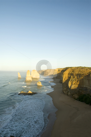 The Twelve Apostles stock photo, Australia's natural wonder, The Twelve Apostles - sandstone cliffs worn away by erosion. by Lee Torrens