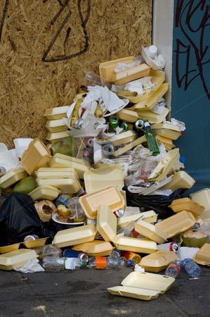 Rubbish stock photo, Pile of rubbish after a big street festival by Lee Torrens