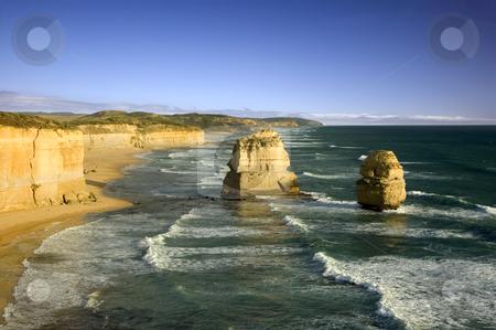 The Twelve Apostles stock photo, Australia's natural wonder, The Twelve Apostles - sandstone cliffs worn away by erosion. by Lee Torrens