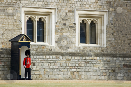 Queen's Guard stock photo, British guard at Windsor Castle (England) by Lee Torrens