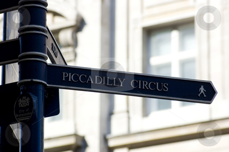 Street Sign stock photo, Street direction sign in  London, giving directions to Piccadilly Circus by Lee Torrens
