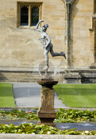 Inside of ChristChurch University (Oxford) stock photo, Traditional English fountain at Christchurch university by Lee Torrens