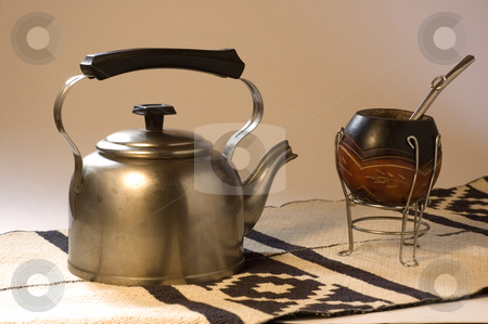 Yerba Mate stock photo, An Argentinean Yerba Mate scene, including a kettle on a typical South American rug. by Lee Torrens