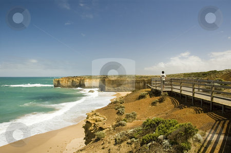 Coastline Lookout stock photo, A constructed lookout boardwalk on a rugged cliff coastline by Lee Torrens